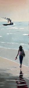 Balade à la plage en contre-jour